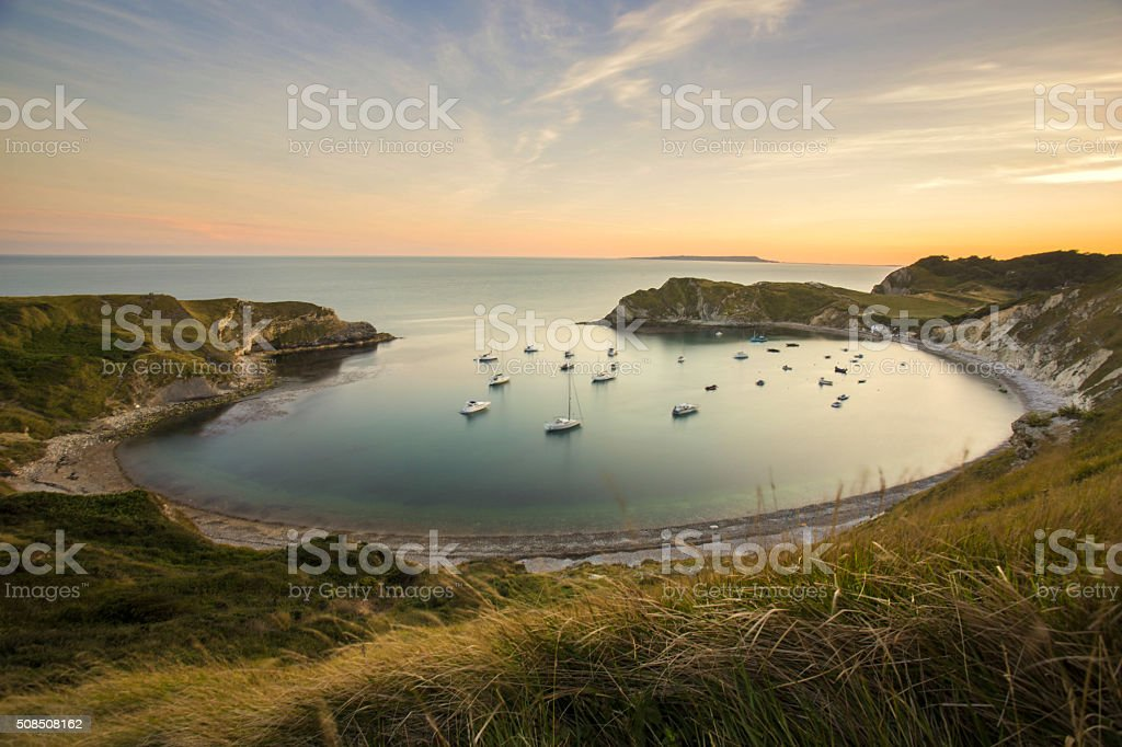 lulworth cove stock photo