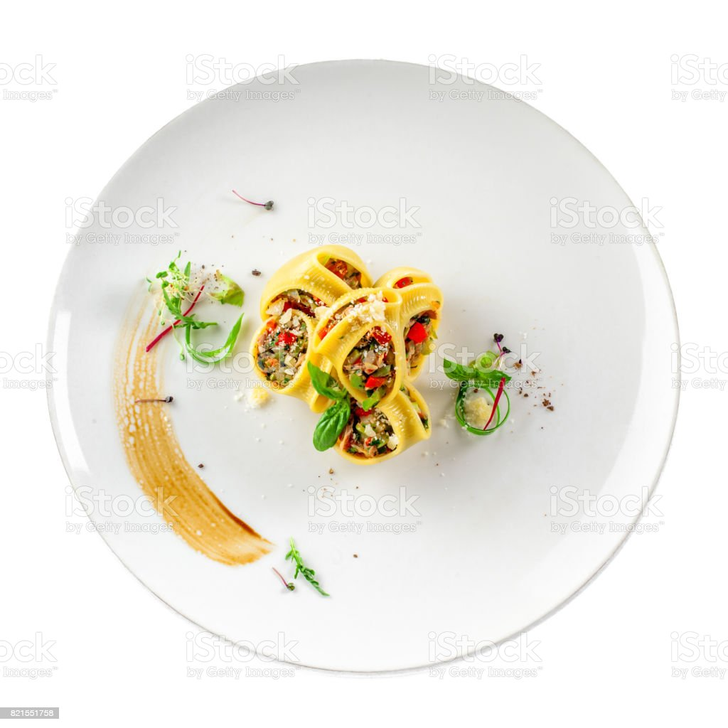 Lumaconi pasta isolated on white stock photo