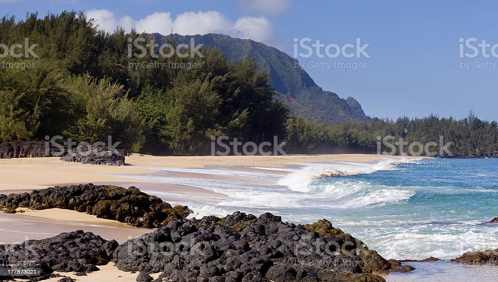 Lumahai beach in Kauai stock photo