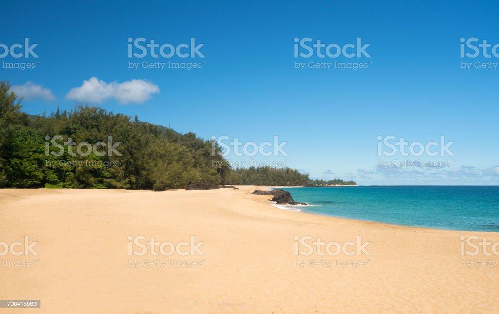 Lumahai Beach Kauai on calm day stock photo