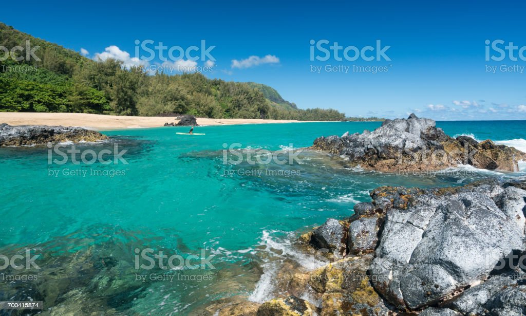 Lumahai Beach Kauai with rocks and surfer stock photo