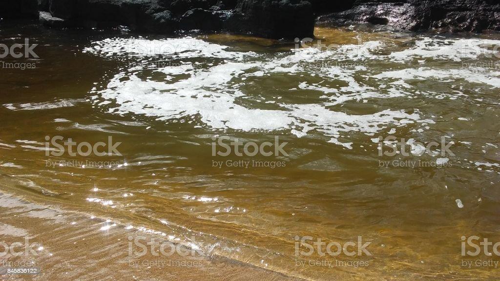 Lumahai River Entering Pacific Ocean at Lumahai Beach on Kauai Island, Hawaii. stock photo