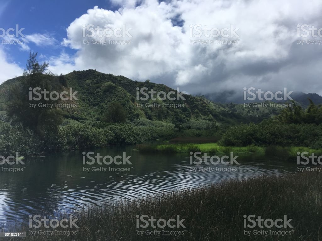 Lumahai River on Rainy and Cloudy Day on Kauai Island in Hawaii. stock photo