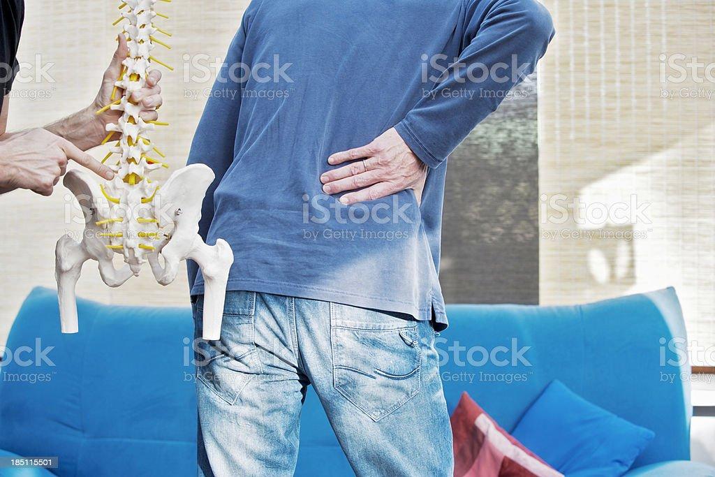 Lumbar pain Typical location of lumbar pain. XXL size image. Adult Stock Photo