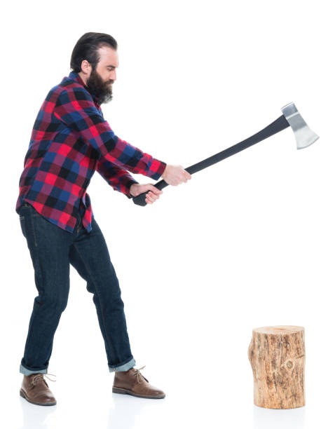 lumber-jack-with-axe-and-tree-stump-chopping-wood-picture-id927264634