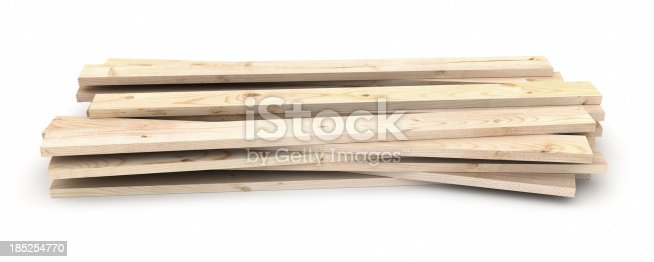 Stack of Wood Isolated on White.