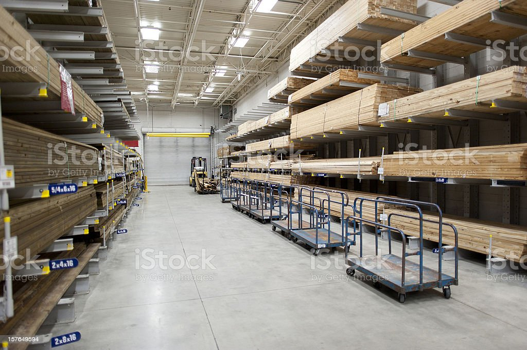 Lumber warehouse stock photo