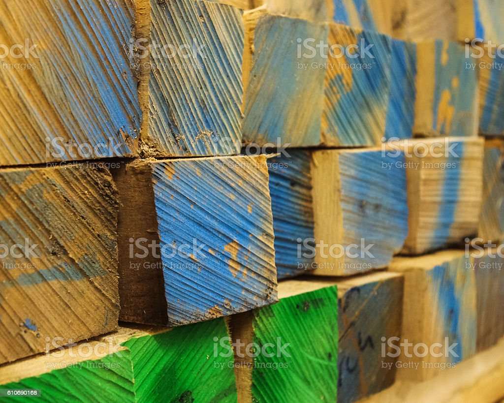 Lumber with colored ends stock photo