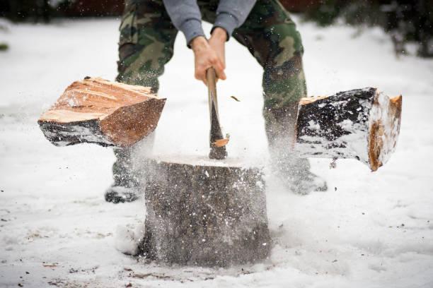 lumberjack cutting wood in snow The lumberjack is cutting wood in snow while falling snow at winter. lumberjack stock pictures, royalty-free photos & images