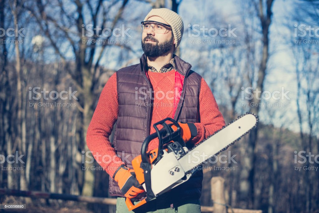 Lumberjack in woods with work tools - saw, ax, chainsaw, cutting trees stock photo