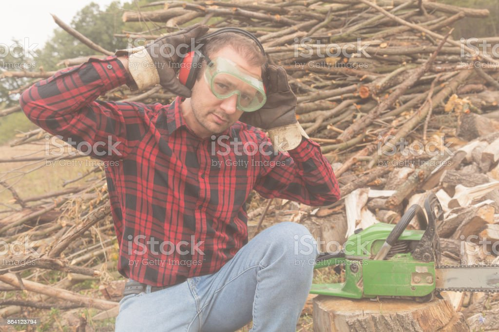 Lumberjack preparing to cut some wood for the winter. royalty-free stock photo