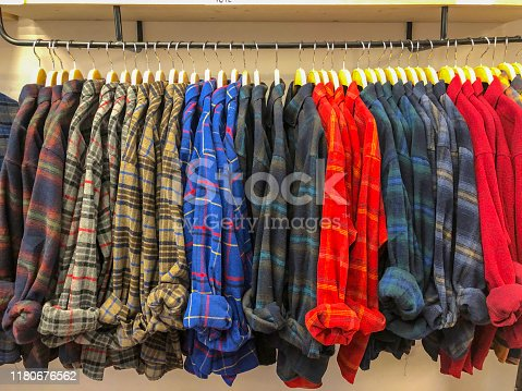 Clothes hanging with hangers
