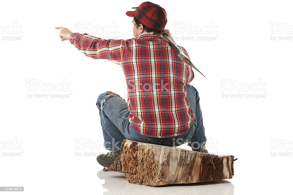 Lumberjack sitting on a tree stump and pointing royalty-free stock photo