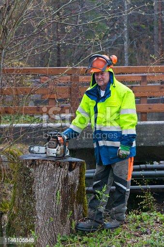 Lumberjack takes a short break after a hard job