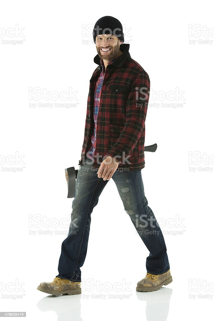 Lumberjack with an axe royalty-free stock photo