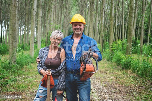 Lumberjacks with Chainsaw and Axe