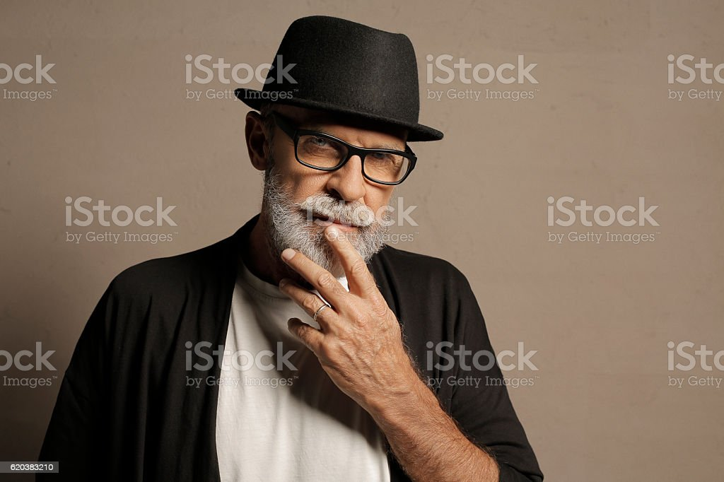 Lumbersexual  Bearded  Senior men hipster stock photo
