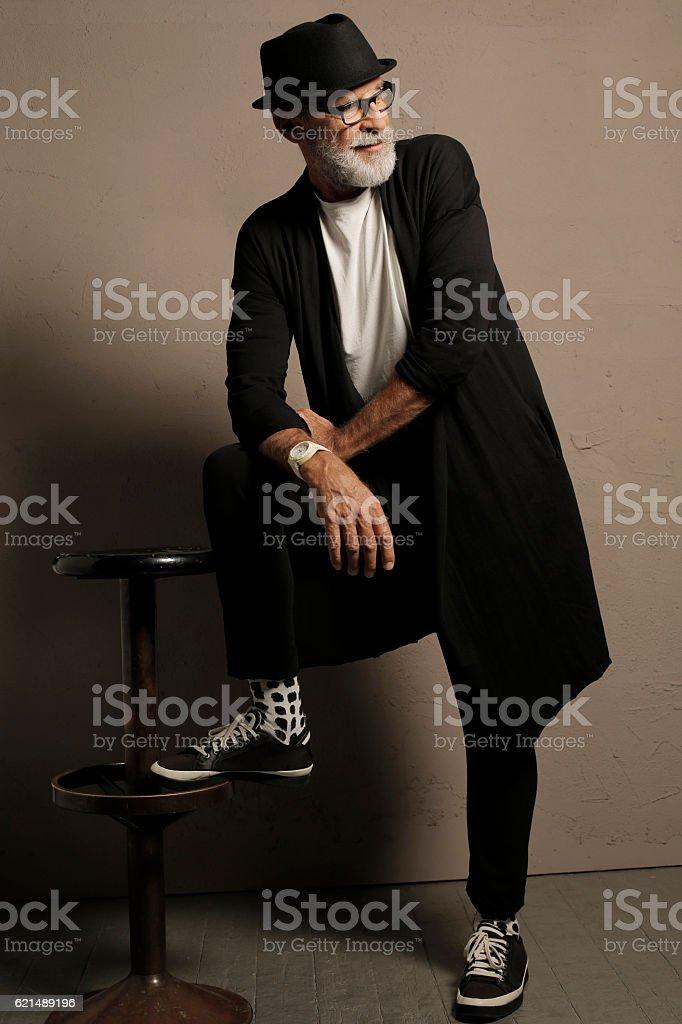 Lumbersexual  Bearded  Senior men hipster photo libre de droits