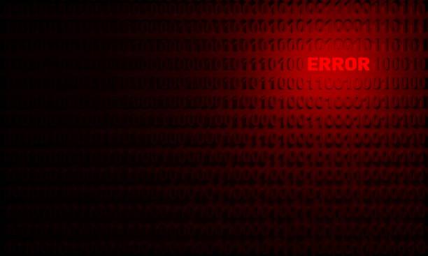 Leuchtende Fehler Wort herausragen unter ausgerichteten Binärzahlen – Foto