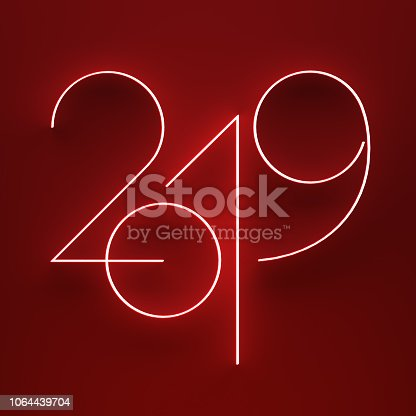istock luminous 2019 year on red background 1064439704