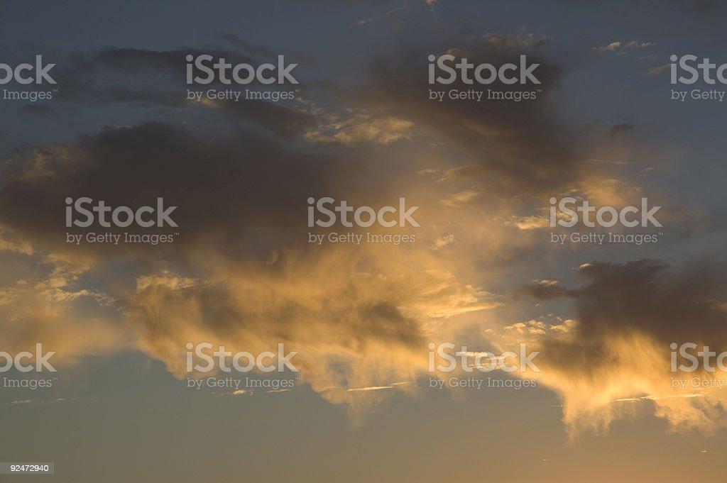 Luminous Blue sunset on yellow clouds royalty-free stock photo