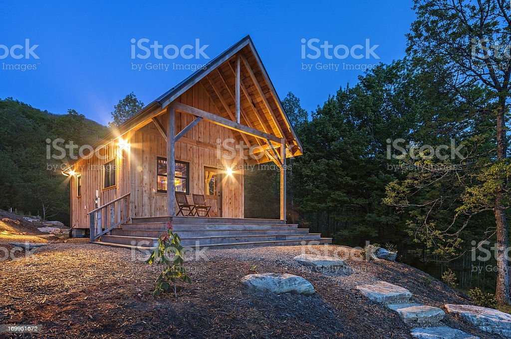Luminous Cabin at daybreak royalty-free stock photo