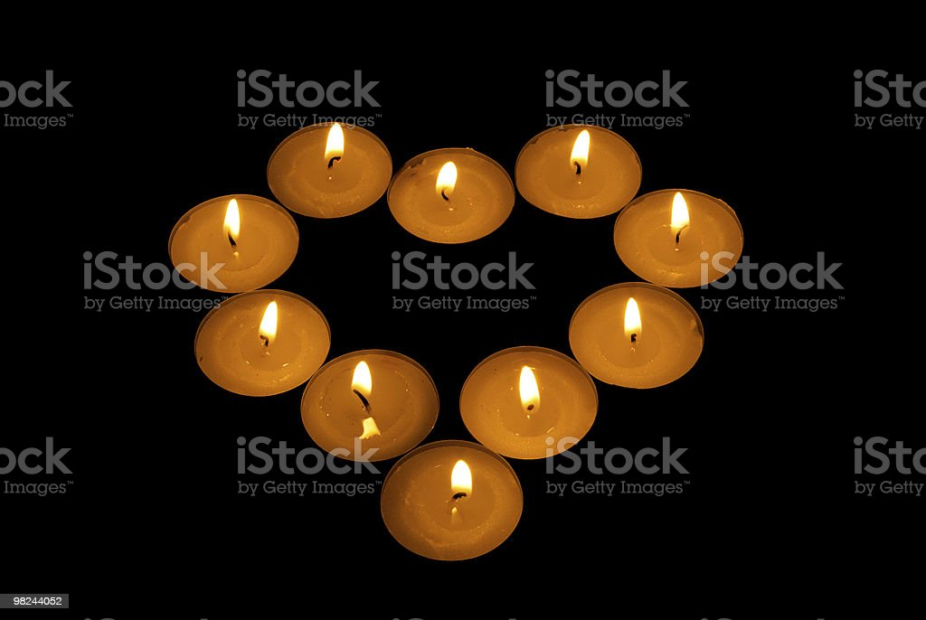 luminous heart from candle royalty-free stock photo