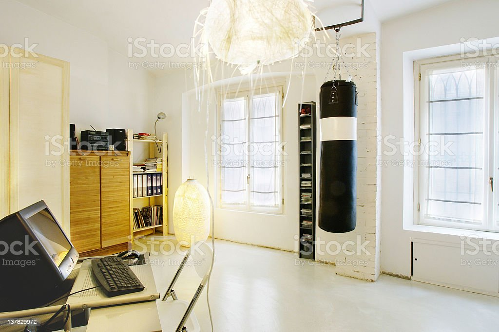 Luminous Office Room, Punching Bag, Rice Paper Lamp Royalty Free Stock Photo