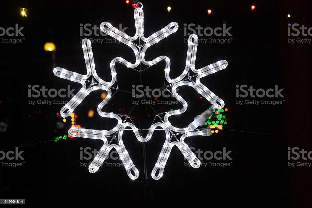 Luminous snowflake - Merry Christmas stock photo