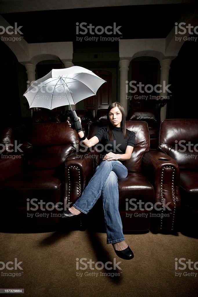Luminous White Umbrella, Woman Portrait. royalty-free stock photo