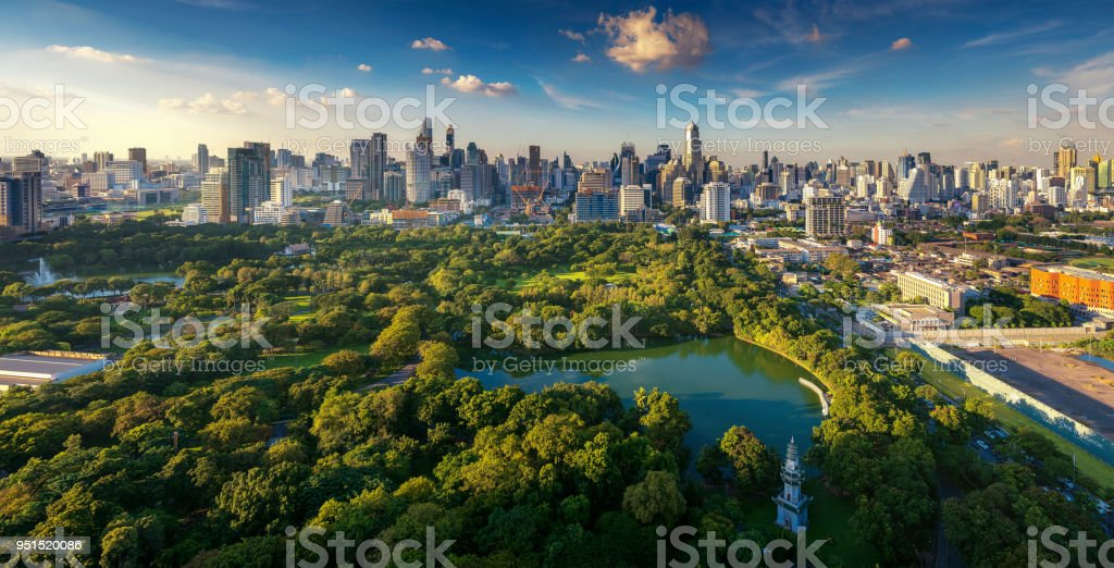 Lumpini park and Bangkok city building view from roof top bar on hotel stock photo