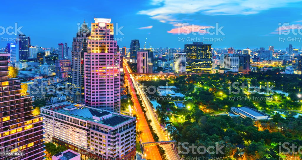 Lumpini park and Bangkok city central business downtown royalty-free stock photo
