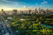 Lumpini park in center of Bangkok city, Thailand