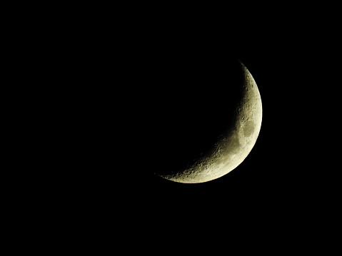 Luna En Cuarto Creciente En La Oscuridad Stock Photo ...