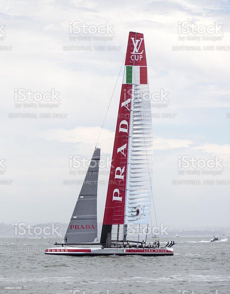 Luna Rossa Challenge's 72 foot America's Cup catamaran training stock photo