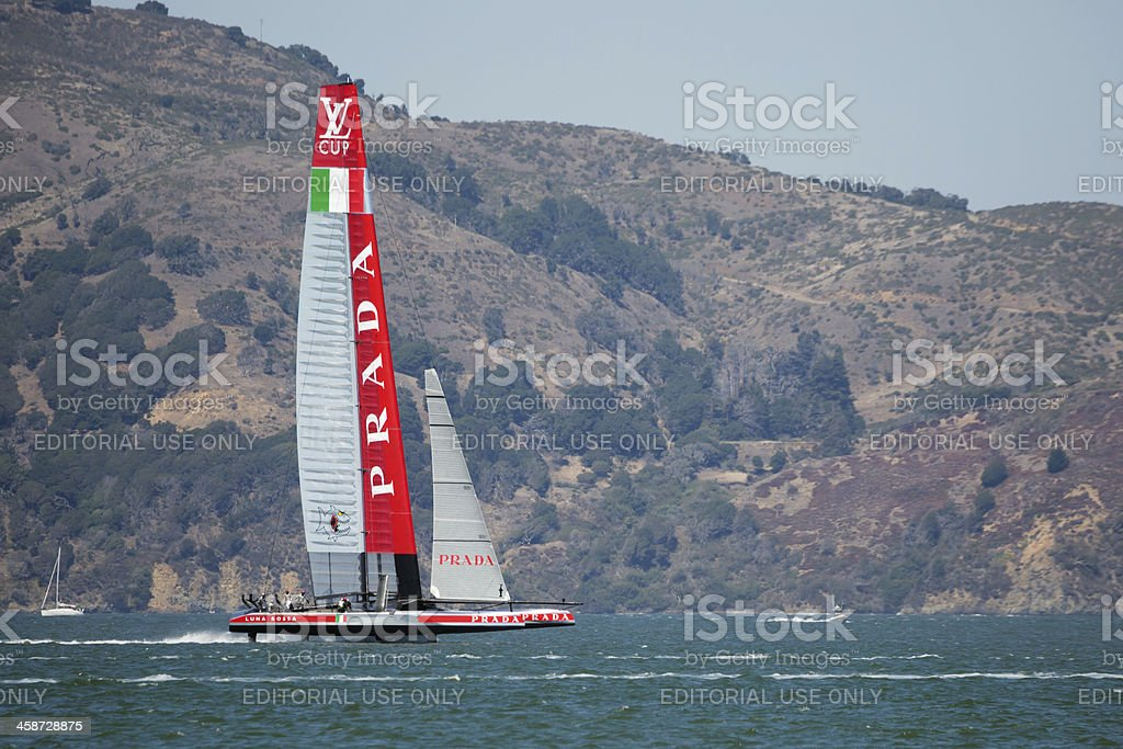 Luna Rossa in action during Louis Vuitton Cup stock photo