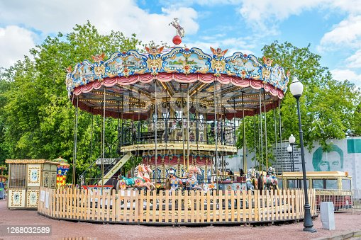 Moscow, Russia - July 3, 2017. A luna-park carousel at Gorky Park in Moscow.