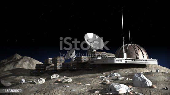3D Illustration of a lunar base with a dome structure, research modules, observation pods and communication satellite dishes for space exploration and science fiction backgrounds