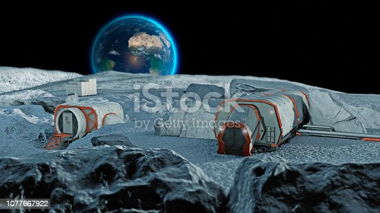 Lunar base, spatial outpost. First settlement on the moon. Space missions. Living modules for the conquest of space. 3d rendering. The earth seen from the moon