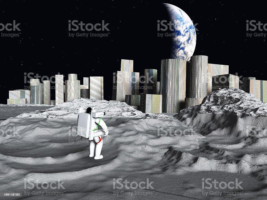 Lunar city earthrise stock photo
