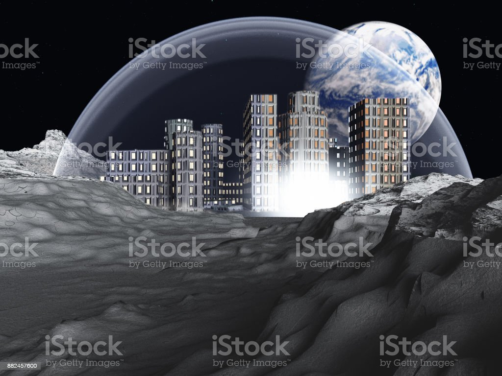 Lunar colony stock photo