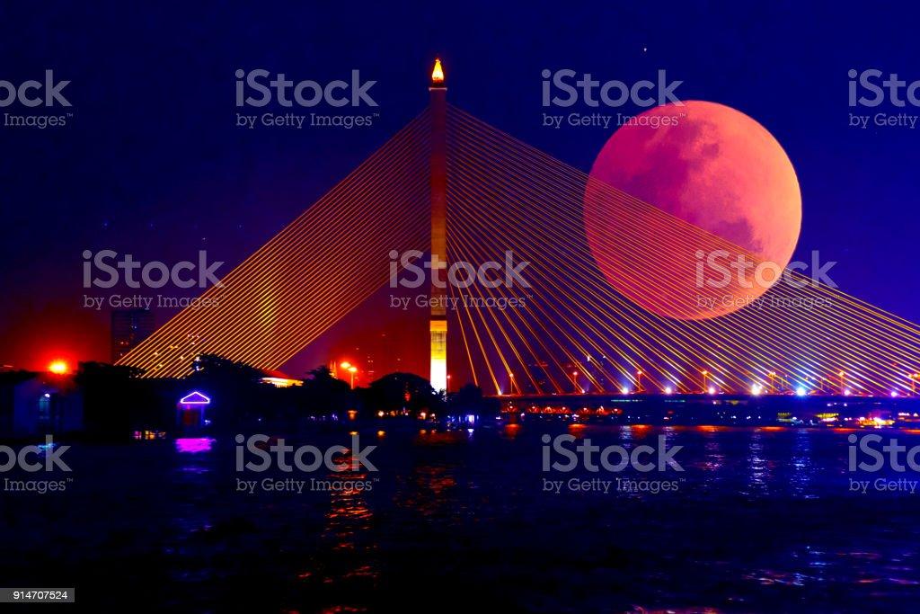 Mondfinsternis Blutmond in Bangkok, Thailand – Foto