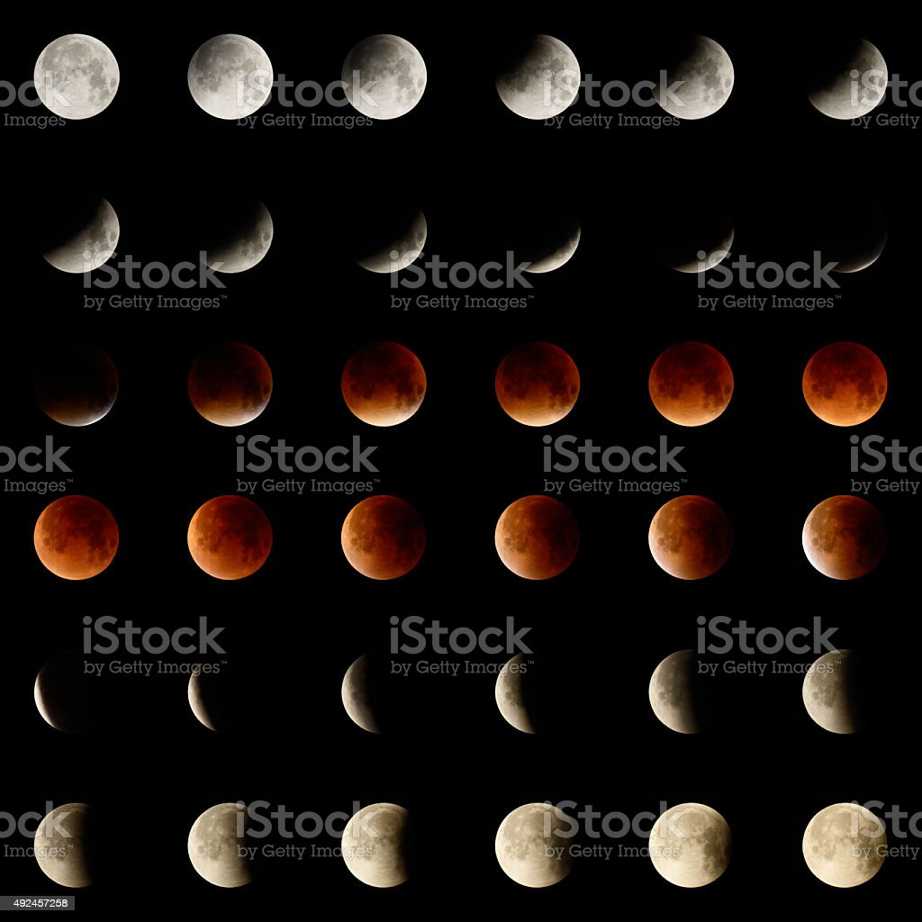 Lunar Eclipse in 36 steps stock photo