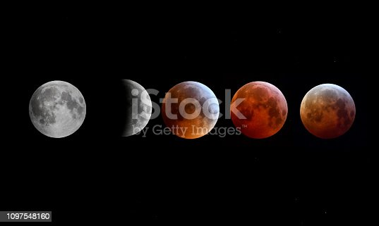 Montage showing the sequence of the Super Blood Wolf Moon eclipse