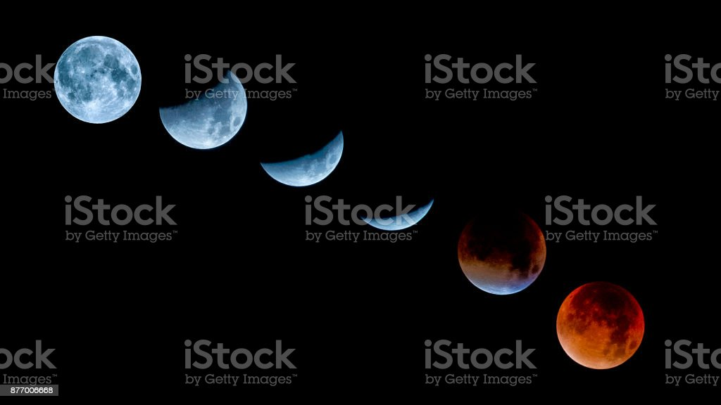Lunar eclipse sequence and Super Moon oktober 2015 stock photo