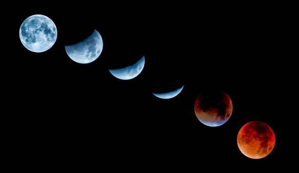 lunar eclipse sequence and super moon september 2015 - historic vs new stock photos and pictures