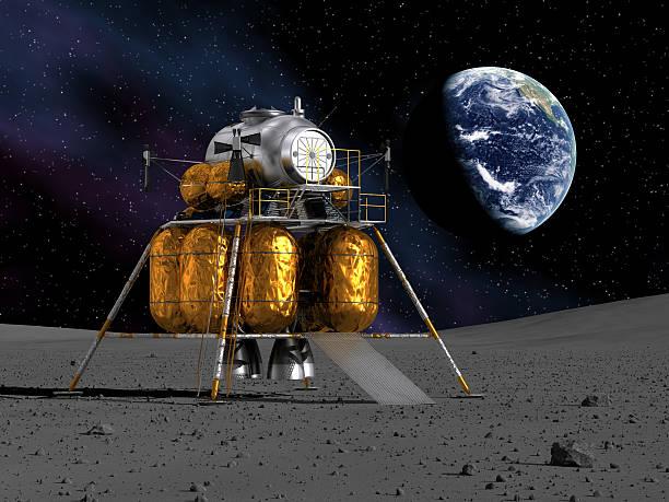 lunar lander auf dem mond - mondlandefähre stock-fotos und bilder