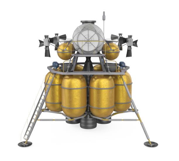 lunar lander raumschiff isoliert - mondlandefähre stock-fotos und bilder
