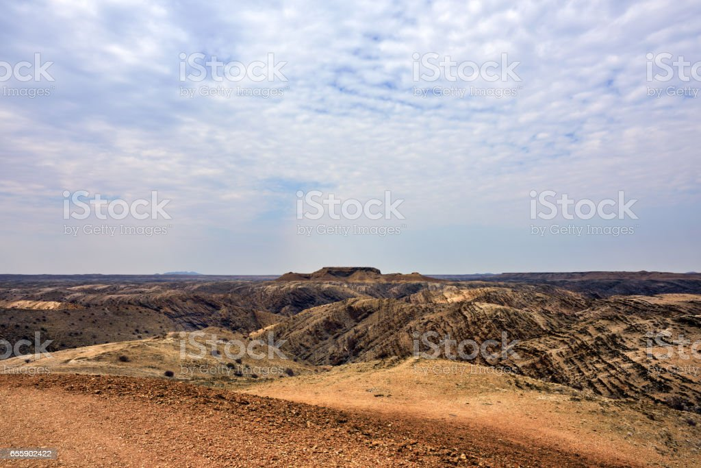 Lunar landscape, Namibia stock photo