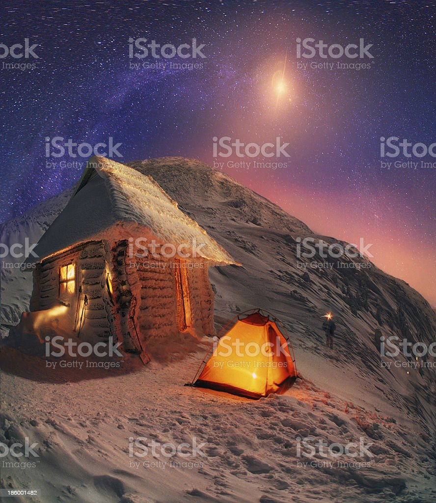 Lunar landscape on winter Goverle royalty-free stock photo